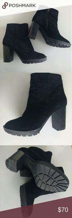 BCBGeneration suede booties Worn twice , real leather suede upper. With man made sole, a bit of platform. Chunky heel and good grip outsole. Perfect for winter and icy roads.   Gently worn, awesome condition ACCEPT REASONABLE OFFERS BCBGeneration Shoes Ankle Boots & Booties