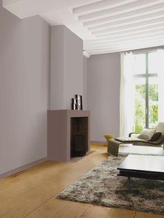 peinture salon mur taupe poudré cheminée couleur santal boisé