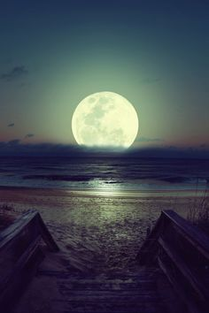 Bright moon sky night beach ocean water outdoors nature clouds moon glow