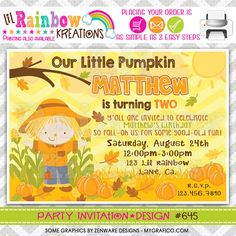 645 DIY Scarecrow Party Invitation Or Thank by LilRbwKreations