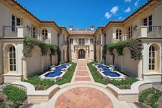 Mediterranean entry courtyard