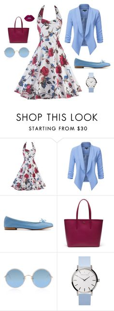 """plumb & light blue"" by littleapplecat ❤ liked on Polyvore featuring Repetto, Lacoste, Sunday Somewhere and Lime Crime"