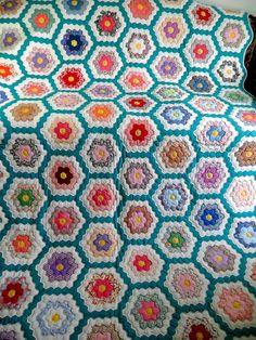 Vintage Antique Handmade Quilt Grandmothers Flower Garden Quilt 50'S NOS   eBay