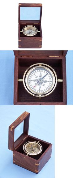 Vintage Gift/… Marine Art Replicas Authentic Clock Compass in Rose Wood Box