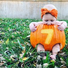 Not only are these photos of babies in pumpkins completely adorable, but they also serve as great fall photo inspiration for family snapshots with little ones, babies, toddlers, and more. Fall Baby Pictures, Family Photos With Baby, Monthly Baby Photos, Baby Girl Photos, Cute Baby Pictures, Fall Photos, Baby Photos With Flowers, Fall Baby Pics, Halloween Baby Pictures