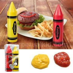 Ketchup & Mustard Crayums. I love them but I also shudder to think what the little one would make of them...on the kitchen table, that is.
