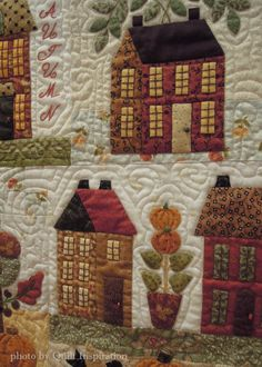 Mini Autumn Houses quilt by Mary Fish.  1st place - applique small, 2014 River City Quilters Guild. Based on a 50% reduction of the Autumn Houses pattern by Bunny Hill Designs. Closeup photo by Quilt Inspiration.