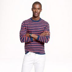 J.Crew - Cotton beach sweater in heather pepper stripe