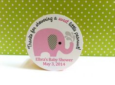 Thanks for Showering a Sweet Little Peanut Pink Elephant Stickers  Sweet pink Elephant stickers for a baby girl shower party. Each sticker has stinkin' cute pink elephant with gray striped ear. It says: Thanks for showering a sweet little peanut. On the bottom, is your personalized text. Isn't it adorable? Adhere this to your party favor and make your party planning easier. You can also use this cute sticker as to seal envelope.