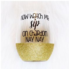 Make one special photo charms for you, 100% compatible with your Pandora bracelets.  Now Watch Me Sip on Chardon Nay Nay Stemless Wine Glass Glitter Wine... ($15) ❤ liked on Polyvore featuring home, kitchen & dining, drinkware, barware, drink & barware, gold, home & living, wine glasses & charms, wine cups and gold mug