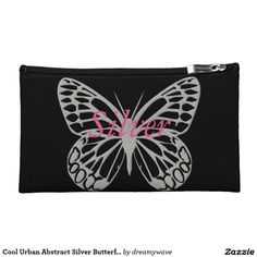 Cool Urban Abstract Silver Butterfly Purse Makeup Bag