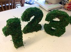 Moss covered monogram letters / table numbers
