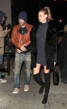 This love: Adam Levine couldn't seem to keep his hands off  wife Behati Prinslooen route to Craig's restaurant in West Hollywood on Friday night