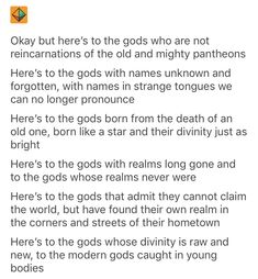 Here's to the forgotten gods