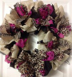 Items similar to Chevron, Zebra, Leopard Burlap with Hot Pink & Black Burlap Trim on Etsy Burlap Wreaths, Mesh Wreaths, Holiday Wreaths, Wreath Ideas, Diy Wreath, Leopard Room, Leopard Baby Showers, Burlap Canvas, Shower Time