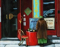 Fortune Telling - woman on street, painting by artist Linda Apple