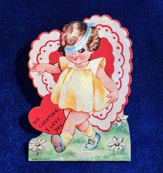 1930's Valentine Blindfolded Girl Die Cut Card