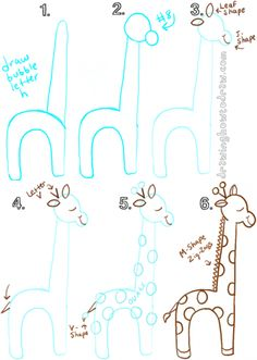 Drawing Doodles Sketches Draw a cartoon giraffe from lowercase letter h - Big Guide to Drawing Cartoon Giraffes with Basic Shapes for Kids Big Guide to Drawing Cartoon Giraffes with Basic Shapes for Kids This guide will show you Doodle Drawings, Cartoon Drawings, Animal Drawings, Easy Drawings, Doodle Art, Cartoon Illustrations, Drawing Lessons, Art Lessons, Drawing Tips