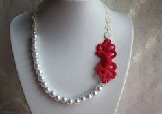 Chinese knots pearl statement flower lace necklace by missvirgouk, $17.00