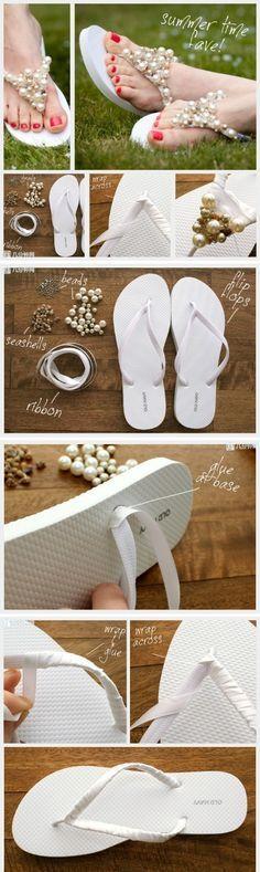 Chinelo de noiva com pérolas