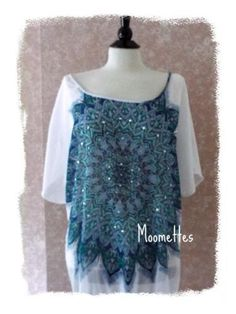 Beaded Caftan Top Boho Peasant Tunic Blouse Blue Womens Large L #CYC #Tunic #Casual