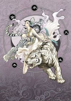 Divine Creature 3 - White Tiger by daxiong on Fantasy Animal, Fantasy Creatures, Mythical Creatures, Fantasy Art, White Tiger Tattoo, Tiger Artwork, Tiger Painting, Fu Dog, Art Asiatique