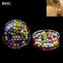 BOG-1 Pair Multicolor Beads Inside Double Flared Ear Plugs Saddle Flesh Tunnel Expanders Gauge Body Piercing Jewelry(China)