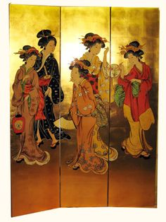 Oriental Hand Painted Gold Leaf Floor Screen with Dancing Ghesha Decorative Screens, Decorative Objects, Decorative Boxes, 4 Panel Room Divider, Room Dividers, Bedroom Divider, Floor Screen, Dressing Screen, Oriental Furniture