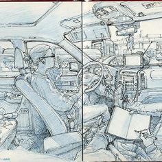 Spread from 2011 sketch collection. This sketchbook contains 5 years worth of sketches by Kim Jung Gi.  This massive 686 page sketch collection contains doodles, live figure drawing, comic book panel, watercolor, caricatures, portraits, and many more amazing sketches.  When you flip through the sketch pages, you'll notice that he can draw the human figure in almost any position with great detail and line work.  His understanding of anatomy and ability to render spatial for and perspective…