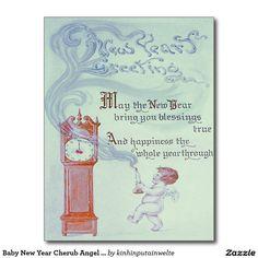Baby New Year Cherub Angel Grandfather Clock Postcard
