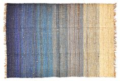 SHILPA RATHI | 6' x 9' Alpay Jute Rug, Blue/Ecru | This gorgeous, textural jute rug is artistically hand-dyed and woven to produce this stunning striped result. Fringed sides add to this rug's unique character | 1,200.00 retail