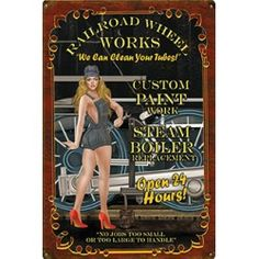 Railroad Wheel Works Vintage Art Deco Metal Sign Train Posters, Pin Up Posters, Railway Posters, Old Advertisements, Advertising, Locomotive, Billboard Signs, Train Art, Girl Sign