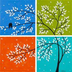 Landscape painting Romantic birds art Impasto by QiQiGallery