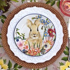 The Pottery Barn Floral Bunny Salad Plates feature four curious-bunny poses. [Victoriana Magazine www.victoriana.com]