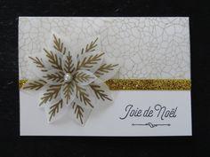 Carte Joie de Noel Stampin'Up - Papier vélin Design Magie de Noël - Fleur festive - tampons Hourra pour Noël