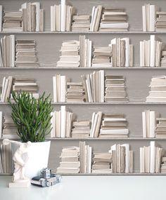 Wye White chalk painted books.  http://shufflebotham.com/wallpaper/wye-vintage-white-bookshelf-wallpaper/