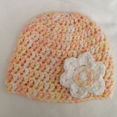 Light pink yellow and white handmade crochet baby by AnneSorrelle, $16.00