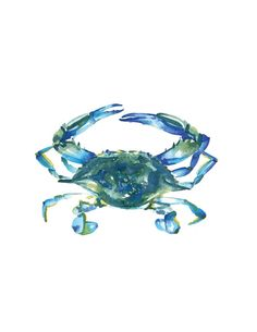 Blue Crab Watercolor Temporary Tattoo by SweetClementinePrint