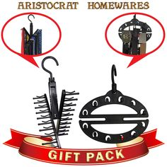 Amazon.com - Aristocrat Non-Slip Tie Rack and Space-Saving Belt Holder Closet Organizer Gift Set Combo, Includes Gift Bag, Holds up to 14 Belts and 20 Ties - Lifetime Guarantee - Belt Holder, Tie Rack, Hold Ups, Closet Organization, Space Saving, Belts, Ties, Amazon, Bag