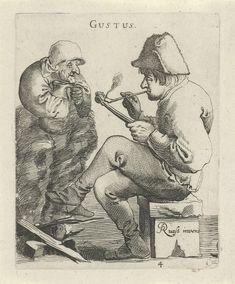 Pieter Jansz. Quast | Smaak, Pieter Jansz. Quast, 1638 | Op een bankje zit een man een pijp te roken. Tegenover de man houdt een persoon een grote schenkkan met drank onder de kin. De prent maakt deel uit van een serie van zes prenten met de vijf zintuigen.
