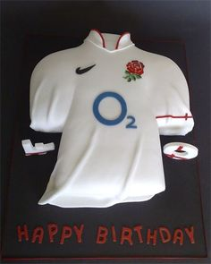 Rugby Cake, but a soccer, hockey or football jersey instead Rugby Cake, Soccer Cake, Birthday Cakes For Men, Man Birthday, England Rugby Shirt, Shirt Cake, Vanilla Sponge Cake, White Cakes, Cake Board