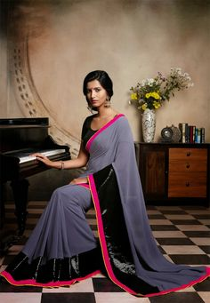 Grey Color Georgette Designer Saree Reminder - this board has split.