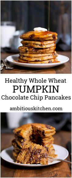 Fluffy whole wheat pumpkin chocolate chip pancakes. These healthy cakes are perfectly spiced and a wonderful breakfast treat.