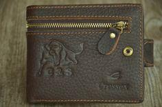 Mens Leather Wallet Brown Leather Wallet Men Distressed Wallet Ox Pattern by SherryJewelry, $25.00
