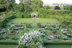 The Formal Garden tennis lawn, Manor House, Upton Grey. Gertrude Jekyll garden design.