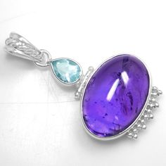 8.29 Gm 925 Sterling silver Natural Top Oval Amethyst Blue Topaz Pendant Jewelry