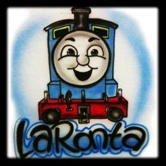 Thomas the Train inspired  Airbrushed TShirt by 1stopairbrush.com $12.99