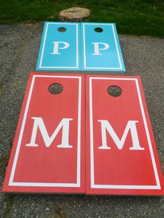 cornhole boards | SETS - Personalized Family Initial Cornhole Boards Wedding Favor ...