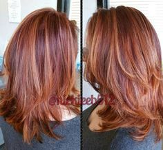 plum auburn hair with copper highlights