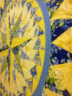 Hey, I found this really awesome Etsy listing at http://www.etsy.com/listing/161983404/round-table-topper-blue-and-yellow